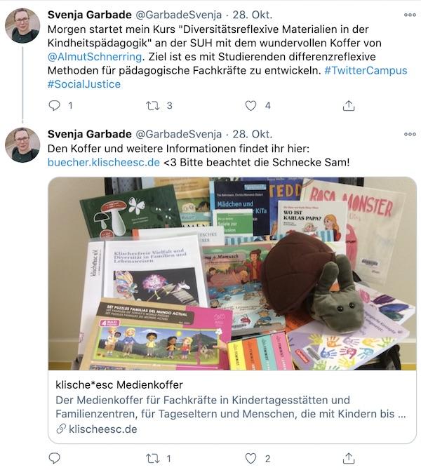 Tweet von @GarbadeSvenja zum Medienkoffer