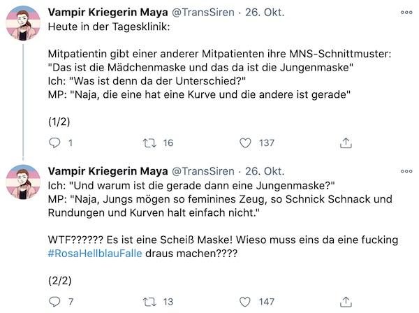 Tweet von @TransSiren zur Rosa-Hellblau-Falle im Pandemie-Alltag